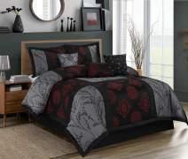 HIG 7 Piece Comforter Set Cal.King-Jacquard Fabric Patchwork-SHANGRULA Bed in A Bag- Soft Texture,Smooth,Good Drapability-1 Comforter,2 Shams,3 Decorative Pillows,1 Bedskirt (Gray, Cal.King)