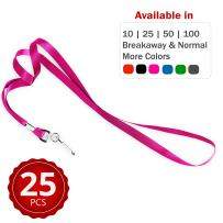 Durably Woven Lanyards ~ Premium Quality, Smoothly Finished for Skin-Friendly Comfort~ for Moms, Teachers, Tours, Events, Businesses, Cruises & More (25 Pack, Pink) by Stationery King