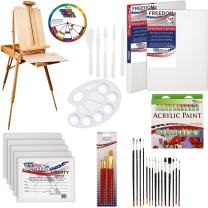 "U.S. Art Supply 62 Piece Acrylic Painting Kit with Coronado French Easel, Acrylic Paint, 16""x20"" Stretched Canvases, 11""x14"" Canvas Panels, Nylon Paint Brushes, Multipurpose Paint Brushes and More"