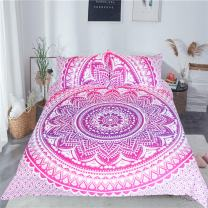 Sleepwish Pink Ombre Bedding India Print Bedspreads Girls Mandala Duvet Cover Set Boho Floral Bed Cover (Full)