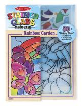 Melissa & Doug Stained Glass See-Through Window Art Kit: Rainbow Garden (80+ Stickers, Frame)