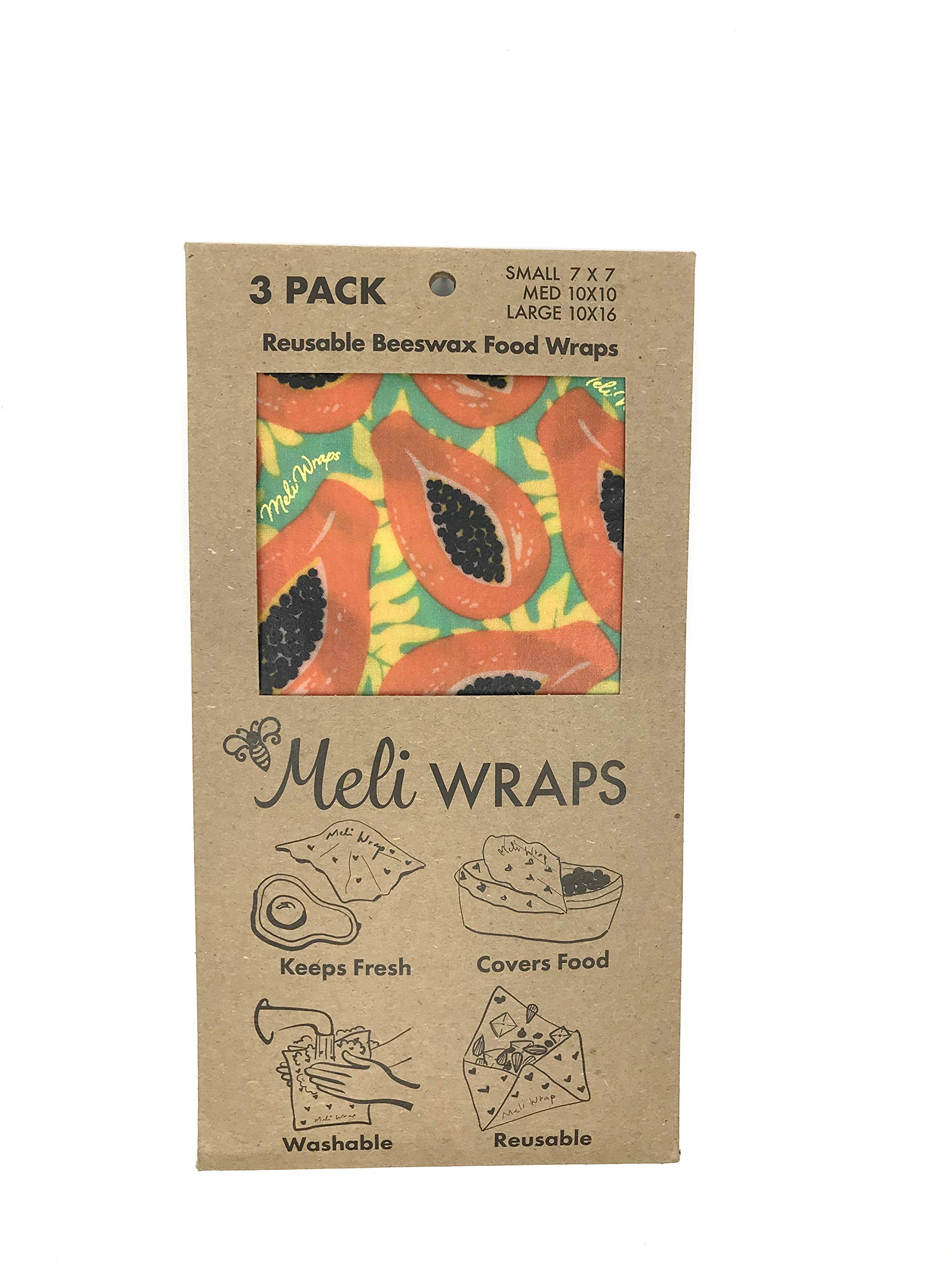 Meli Wraps Beeswax Wraps - Reusable Food Wrap Alternative to Plastic Wrap. Certified Organic Cotton, Naturally Antibacterial. 3-Pack includes sizes (SML) in Tropical Papaya Print