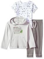 Yoga Sprout Unisex Baby Cotton Hoodie, Bodysuit or Tee Top, and Pant