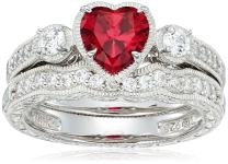 J'ADMIRE Plated Sterling Silver Heart Created Ruby Vintage Style Swarovski Zirconia Accents Ring