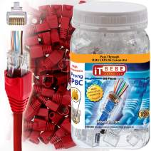 ITBEBE 100 Sets Gold Plated RJ45 Cat5 Cat5e Pass Through connectors and Red Strain Relief Boots for 8P8C UTP Passthrough cat5e Network Insert ethernet Plug for Unshielded Twisted Pair Cables