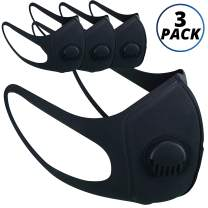 Vairino Anti Dust Face Mask with Respirator   Washable Reusable Mouth Cover (Black, 3 Pack)