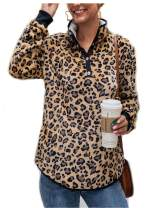 ZKHOECR Women's High Neck Lightweight Long Sleeve Top Fleece Pullover Sweatshirts