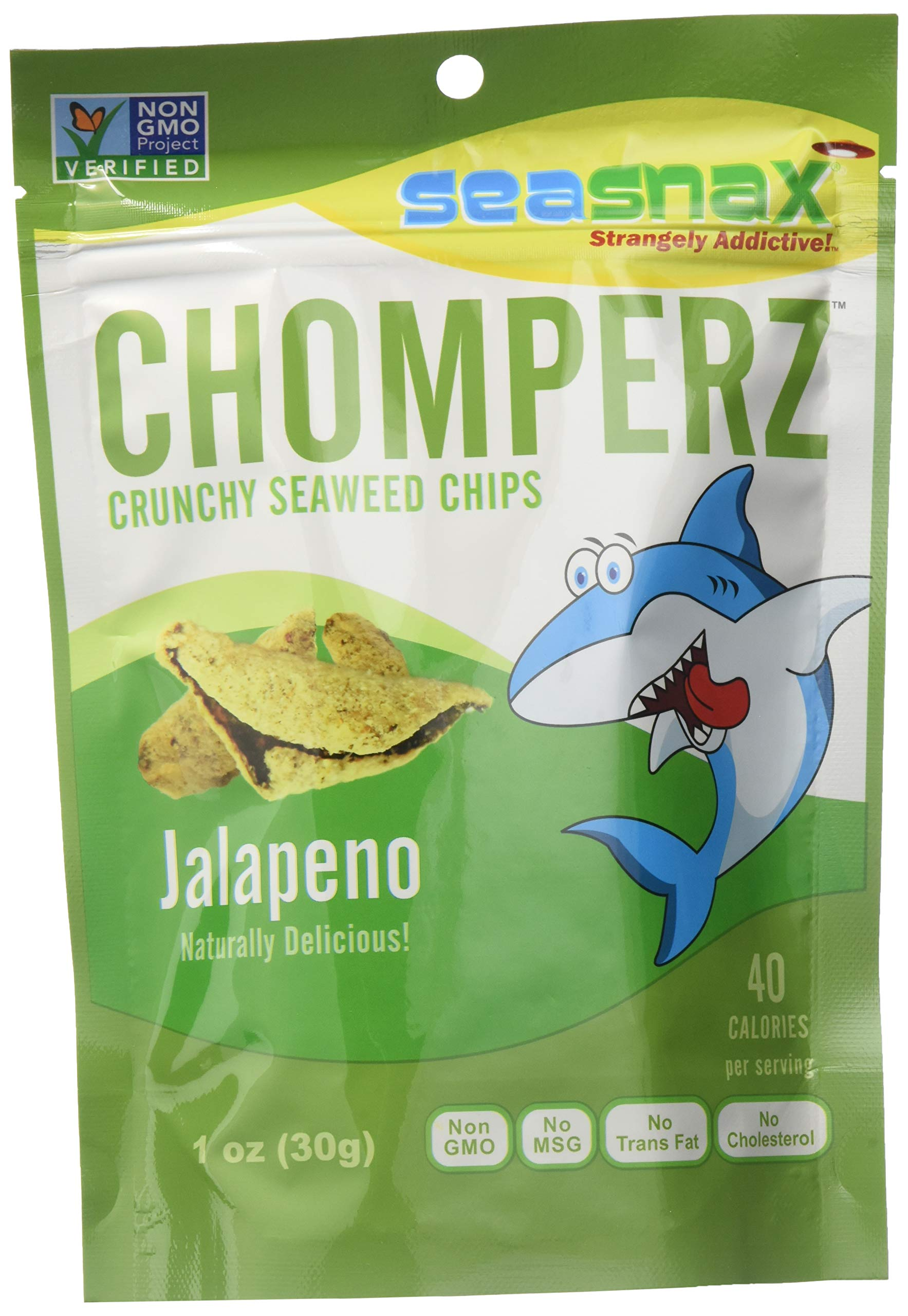SeaSnax Chomperz Crunchy Seaweed Chips Jalapeno, 1 oz (Pack of 8)