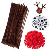 Whaline 350 Pcs Brown Pipe Cleaners Set Including 100 Pcs Brown Craft Chenille Stems, 100 Pcs Multi Sized Wiggle Googly Eyes and 150 Pcs Pompoms for Craft Party DIY Art Supplies