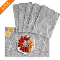 Sayopin Placemat Set of 6 Washable Placemats for Dinner Table Indoor Outdoor Heat Resistant Stain Resistant Crossweave Woven Vinyl Kitchen Table Mats Wipe Clean(6,Grey)