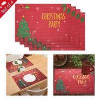Zwirelz 4pcs Merry Christmas Placemats, Waterproof Non-Slip Elk Santa Snowman Table Mats Christmas Check Placemats for Party Holiday Christmas Table Decorations 12 x 18 Inch (Type-2)