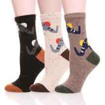 Women Girls Wool Fuzzy Socks,Kids Cabin Novelty Cute Animal Socks,Funny Warm Cotton Socks 3 Packs
