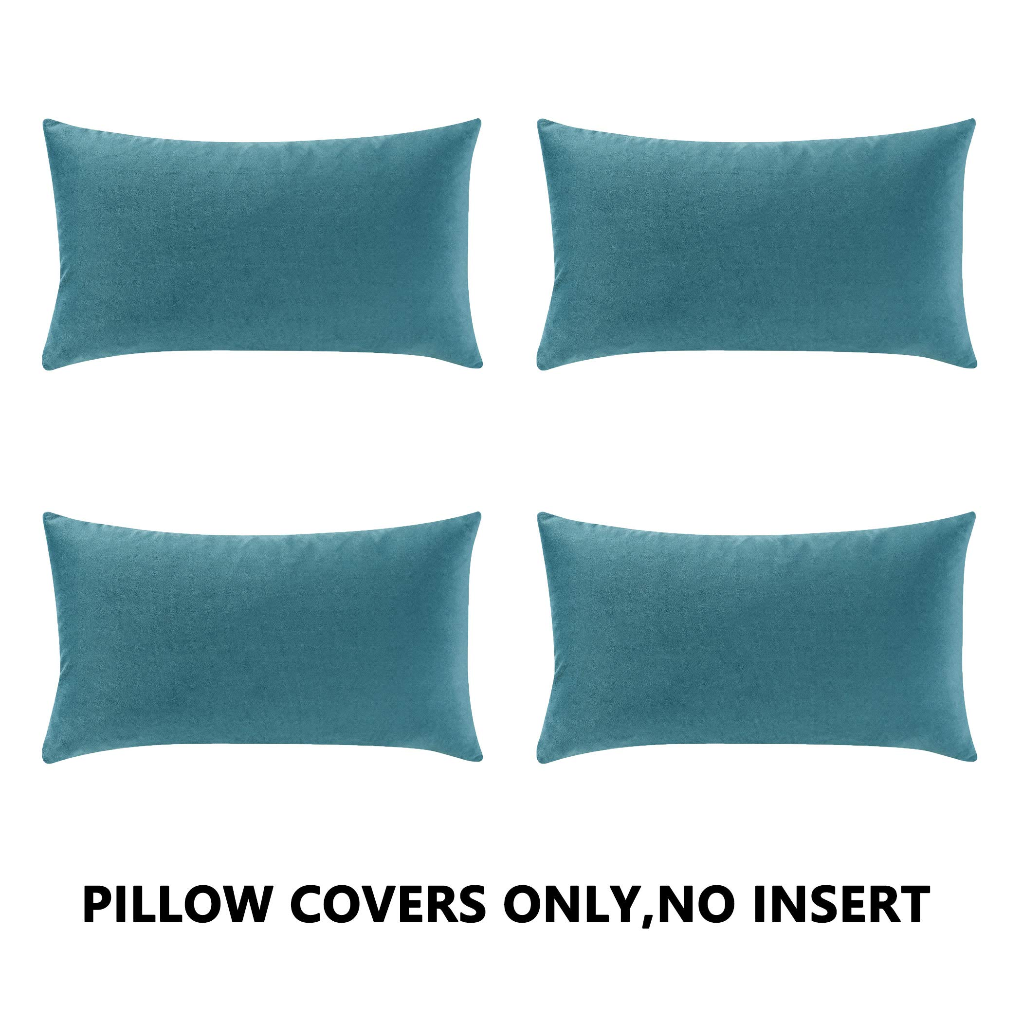 COMFORTLAND New Year/Christmas Decorative Pillow Covers 12x20 Light Blue: 4 Pack Cozy Soft Velvet Rectangular Throw Pillow Cases for Farmhouse Sofa Couch Bed Chair Home Decor Decorations