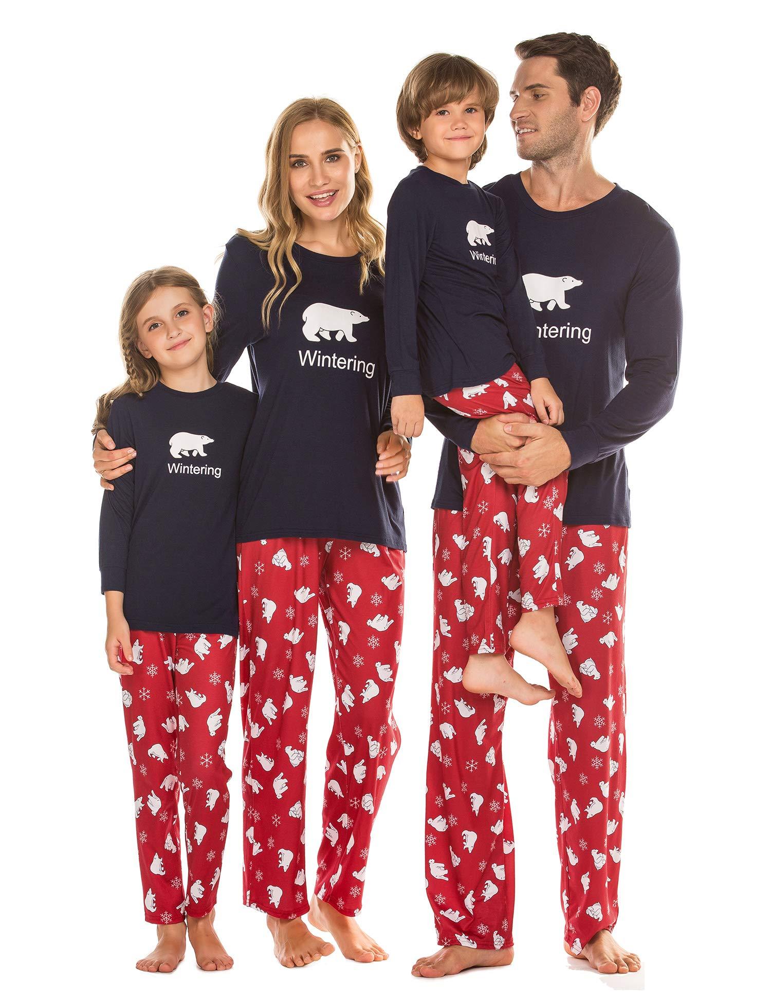 Ekouaer Pajamas Set Matching Family Christmas Pjs Cute Holiday Sleepwear Long Sleeve and Full Length Printed Pants S-XXL