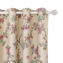BGment Birds Floor Length Blackout Curtains, Grommet Thermal Insulated Room Darkening Curtain, 2 Panels (52 x 84 Inch, Beige)