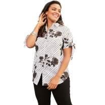 Roamans Women's Plus Size Tie-Sleeve Kate Shirt