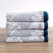 Great Bay Home 100% Cotton Decorative Hand Towel Set (16 x 28 inches) Luxury Floral Jacquard Hand Towels. Roselyn Collection (Set of 4, White/Blue)