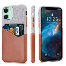 "Lopie [Sea Island Cotton Series] Slim Card Case Compatible for iPhone 11 Pro Max 2019 (6.5""), Fabric Protection Cover with Leather Card Holder Slot Design, Light Brown"