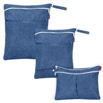 Damero 3Pcs Wet Dry Bags for Baby Cloth Diaper, Washable Diaper Wet Bag with Handle for Pumping Parts, Travel, Swimsuits, Dark Blue