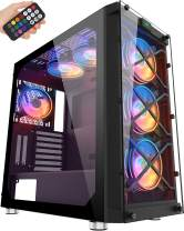 MUSETEX USB 3.0 Ports & 6 PCS 120mm LED RGB Fans Pre-Installed ATX Mid Tower Computer Gaming Case with Remote Control Tempered Glass Window (BX6-MD6)