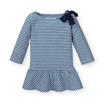 Hope & Henry Girls' 3/4 Sleeve Peplum Knit Top with Bow Detail