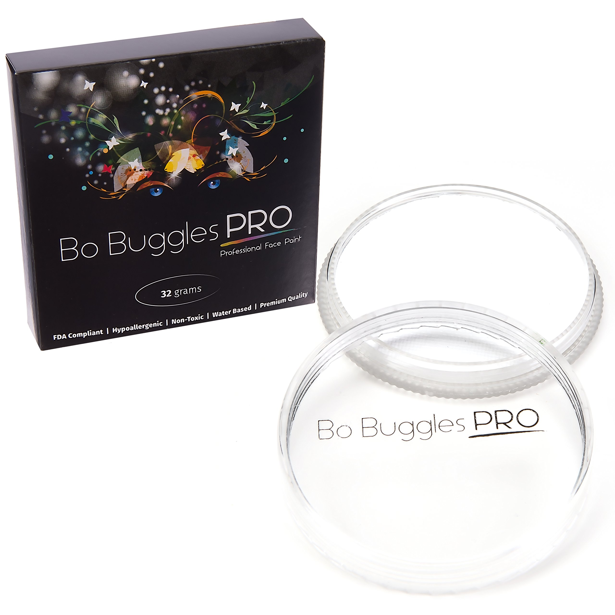Bo Buggles Professional White 32g Face Paint, Classic Colors, Water Activated