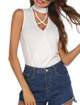 HOTLOOX Women's Criss Cross Choker V Neck Sleeveless Tank Tops Halter Casual Shirt Blouse for Summer S-XXL
