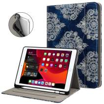 Fintie Folio Case for New iPad 7th Generation 10.2 Inch 2019 with Built-in Pencil Holder - Multi-Angle Viewing Soft TPU Protective Smart Stand Back Cover with Pocket, Auto Wake/Sleep, Indigo Dreams