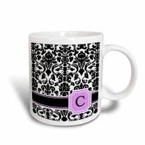 3dRose mug_154378_1 Personal Initial C Monogrammed Pink Black and White Damask Pattern Girly Stylish Personalized Letter Ceramic Mug, 11-Ounce