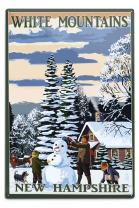 Lantern Press White Mountains, New Hampshire, Snowman and Cabin 48091 (6x9 Aluminum Wall Sign, Wall Decor Ready to Hang)
