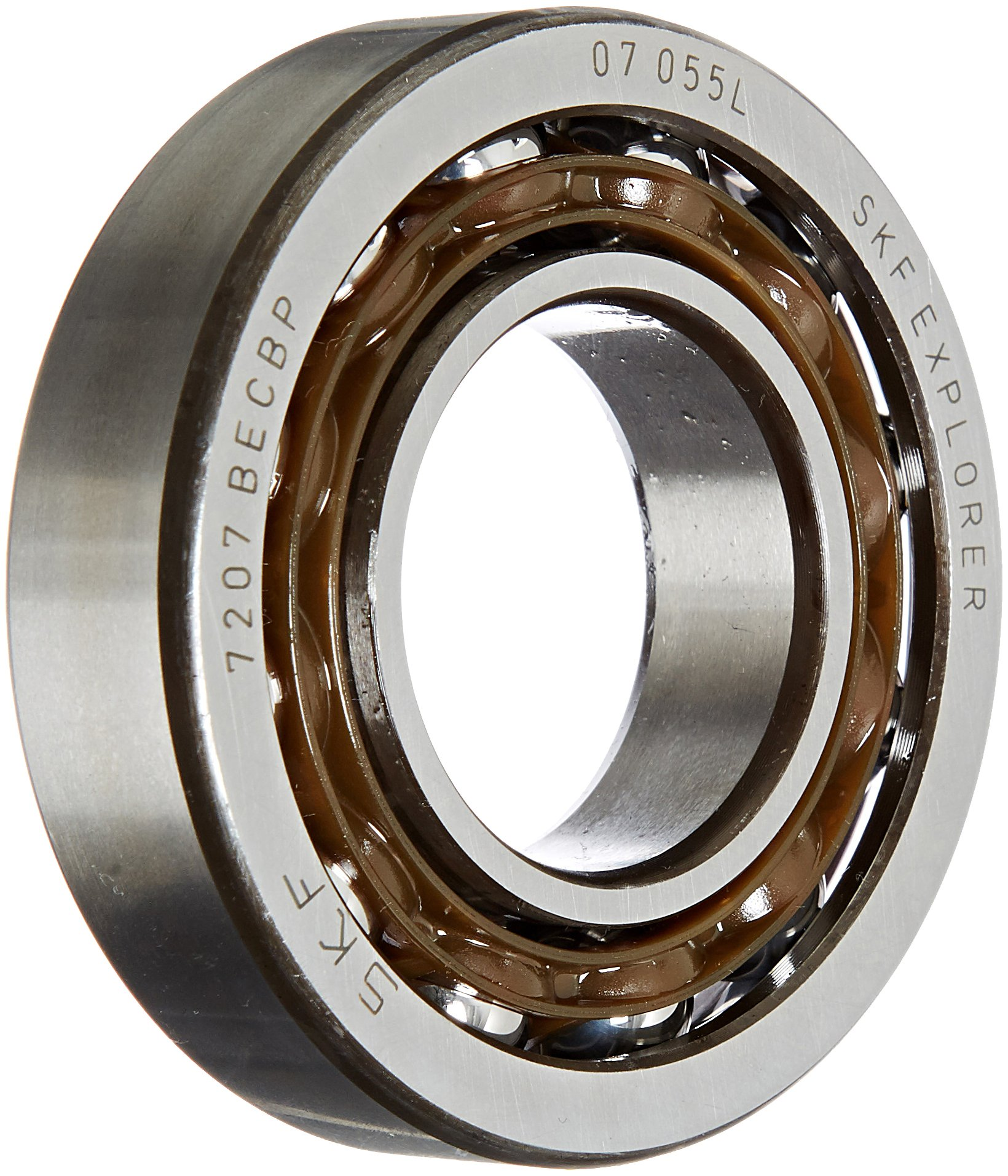 SKF 7202 BECBP Light Series Angular Contact Ball Bearing, Universal Mounting, ABEC 1 Precision, 40° Contact Angle, Open, Plastic Cage, Normal Clearance, 15mm Bore, 35mm OD, 11mm Width, 4800.0 pounds Static Load Capacity, 8840.00 pounds Dynamic Load Capacity