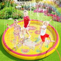 """(68"""") Inflatable Sprinkler Splash Pad for Kids Toddlers Dogs, Kiddie Baby Pool, Outdoor Water Play Mat Toys - Baby Infant Wading Pool - Fun Backyard Fountain Play Mat for 1 -12 Year Old Girls Boys"""