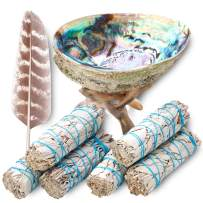 """JL Local Sage Smudge Kit ~ 6 White Sage Bundles 4"""" ~ Abalone Shell 5-6"""" & Tripod Stand ~ Instructions ~ Feather 7+ inch ~ Smudging Kit for Incense, Meditation, Smoke Cleansing"""