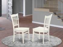 East West Furniture GRC-WHI-W Groton dining chairs - Wooden Seat and Linen White Solid wood Frame dining chair set of two