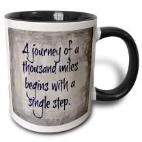 3dRose Journey Of 1000 Miles Single Step Purple Letters On Silver Background Two Tone Mug, 11 oz, Black