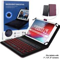 Cooper Backlight Executive Keyboard Case for 7-8 Inch Tablets | 2-in-1 Bluetooth Wireless Backlit Keyboard, Leather Folio, 7 Color Keys (Purple)