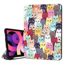 Hepix iPad 10.9 inch Air 4th Generation Case with Pencil Holder 2020, Cat Cartoon Stand Slim Trifold Protective Shockproof Smart Cover Auto Sleep Wake for A2072 A2316 A2324 A2325