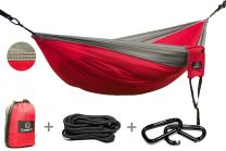 CAMPFY Single & Double Hammocks   Carabiners Soft Comfortable Breathable Tear Resistant Lightweight Portable - 70D Diamond Weave Ripstop Parachute Nylon - Gear for Camping Travel Survival Beach