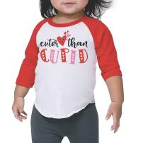 Bump and Beyond Designs Toddler Kids Cuter Than Cupid Valentine's Day Shirt Unisex 3/4 Raglan