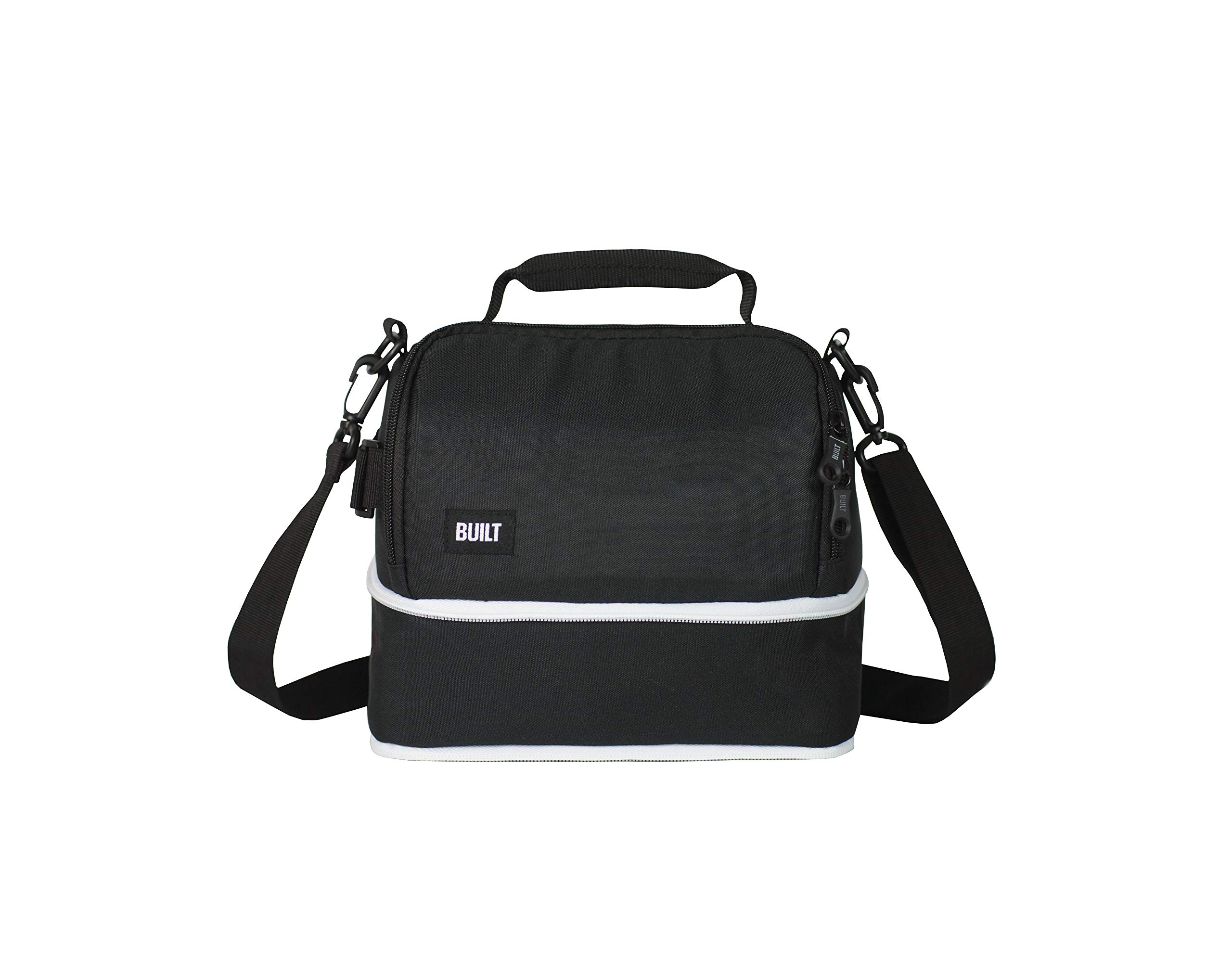 BUILT Expandable Convertable Water-Resistant Insulated Fabric Lunch Bag, 10-Inch, Black