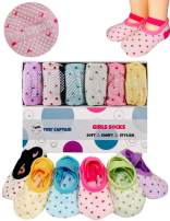 Toddler Girls Baby Grip Socks - Gift For 1 Year Old Girls 1-3 Yr Anti Slip Non Skid Socks w/ Strap Age 1 Toddler Girl Gifts 12-24 Month Girls Socks Tiny Captain