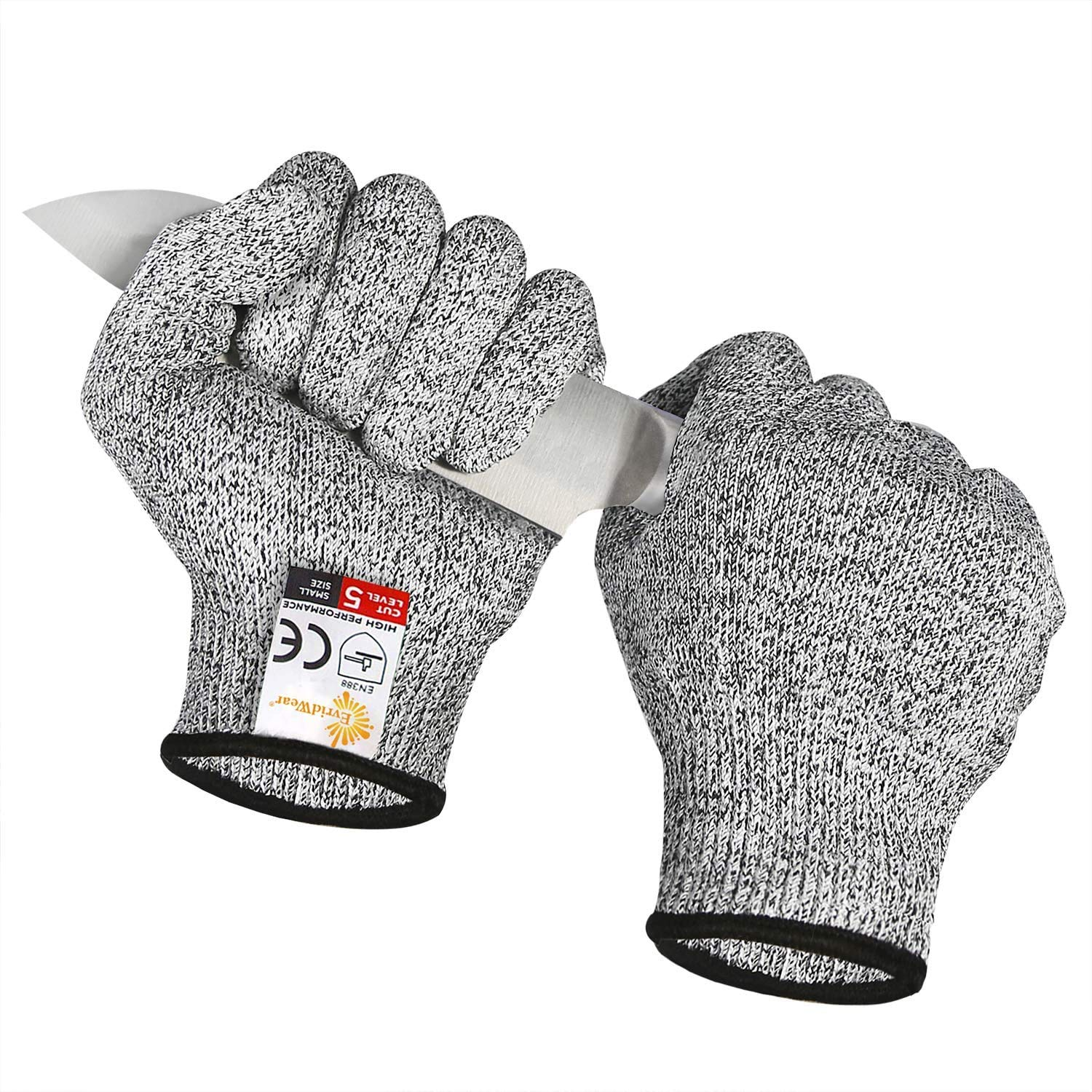 EVRIDWEAR Cut Resistant Gloves, Food Grade Level 5 Safety Protection Kitchen Cut Gloves For cutting, Chopping, Fish Fillet, Mandolin Slicing and Yard-Work Thin & Lightweight(Grey, Small)