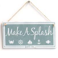 "Meijiafei 'Make A Splash (Land & Sea)' - Nautical Sign - Vintage PVC Sign/Plaque 10""x5"""