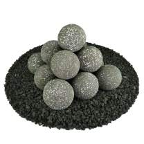 Ceramic Fire Balls | Set of 14 | Modern Accessory for Indoor and Outdoor Fire Pits or Fireplaces – Brushed Concrete Look | Charcoal Gray, Speckled, 4 Inch