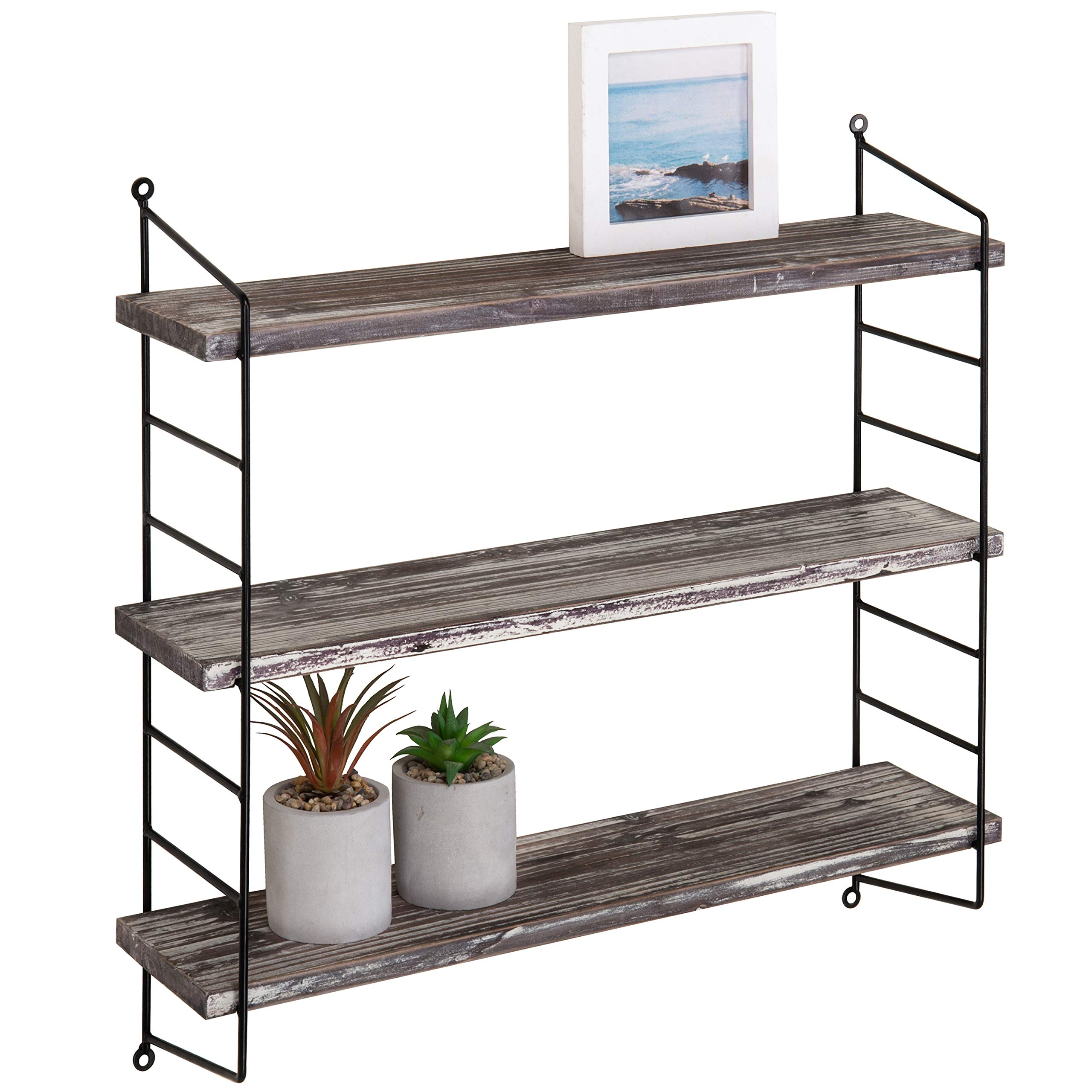 MyGift Wall-Mounted 3-Tier Torched Wood & Metal Adjustable Shelf