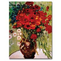 Daisies and Poppies by Vincent van Gogh, 24x32-Inch Canvas Wall Art