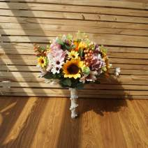 U'Artlines Artificial Sunflower Bridal Wedding Bouquet Romantic Handmade Holding Flower for Wedding Party Home Decoration (Bouquet B)