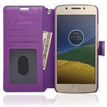 NAVOR Zevo Motorola Moto G5 Wallet Case Slim Fit Light Premium Flip Cover with RFID Protection - Purple (MTG5-PP)