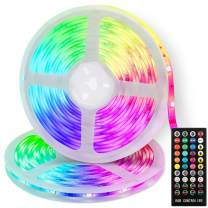 LED Strip Lights, 32.8ft/10m Music Sync RGB Rope Lighting IP65 Waterproof SMD 5050 Color Changing Full Kit with 40 Keys IR Romote Controller for Home, Bedroom, Kitchen, 12V Power Supply