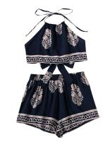 SweatyRocks Women's 2 Piece Set Halter Floral Embroidered Crop Top and Shorts Set